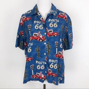 Barn Fly L Route 66 1950s Pinup Girls Button Shirt